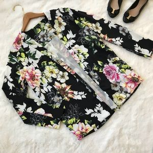 River island black floral relaxed blazer pockets